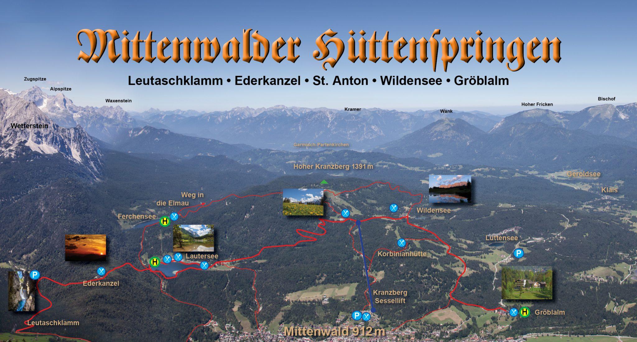 Beschreibung des Kranzberg Wandergebietes bei Mittenwald